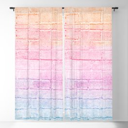 peach pink lavender blue gradient distressed painted brick wall ambient decor rustic brick effect Blackout Curtain