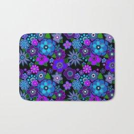 Yesterday People Super groovy Flowers dark base purple Bath Mat