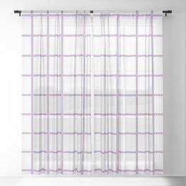 Lavender Grid Pattern Sheer Curtain