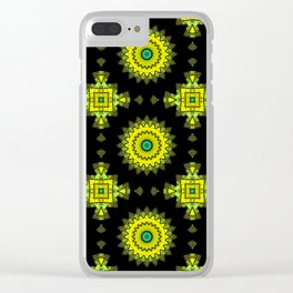 Black and yellow round ornament 1 . Clear iPhone Case