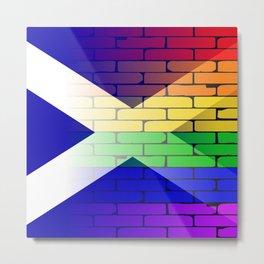 Gay Rainbow Wall Scotland Flag Metal Print