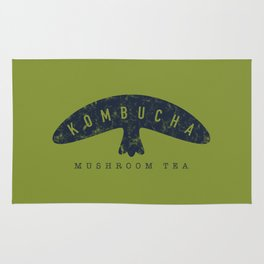 Kombucha Mushroom Tea // Moss Green and Blue Abstract Graphic Design Artwork Rug