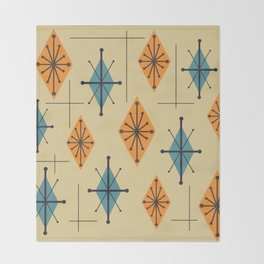 Mid Century Modern Starburst Diamonds Orange And Blue Throw Blanket