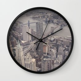 New York City from Above Wall Clock