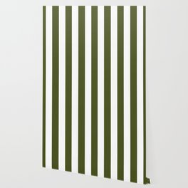 Army green - solid color - white vertical lines pattern Wallpaper