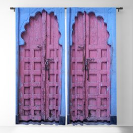 Pink Door In The Blue City, Jodhpur Blackout Curtain