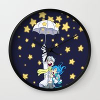 dmmd Wall Clocks featuring DMMd :: The stars are falling by Thais Magnta Canha