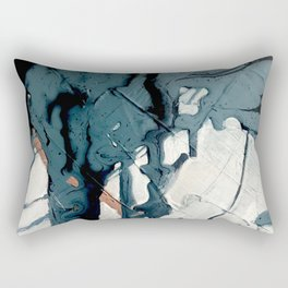 Fortune[4]: A bold, minimal, abstract mixed-media piece in blue and black Rectangular Pillow