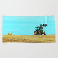 Tractor and Hay Roll on the Ridge Beach Towel