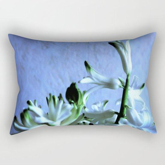 white hyacinthe on light blue background Rectangular Pillow