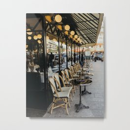 Cafe terrace in Paris during the spring, France | Street view | Pastel colored buildings | Travel photography fine art Metal Print