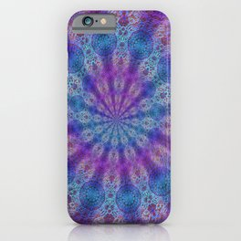 Boho style laces print in blue and pink. iPhone Case