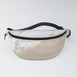 Modern white marble gold stripe wood color block Fanny Pack
