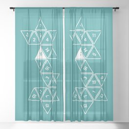 Teal Unrolled D20 Sheer Curtain