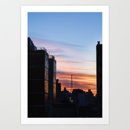 Beautiful sunrise in the city. Sunlight break down throughout the buildings and shine bright. Art Print