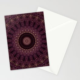 Mandala in dark purple and golden colors Stationery Cards