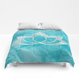 Lotus Flower on Aqua Comforters