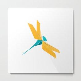 Origami Dragonfly Metal Print
