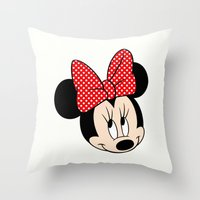 minnie mouse Throw Pillows featuring So cute Minnie Mouse by Yuliya L