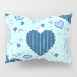 Elegant Blue Hearts Pillow Sham