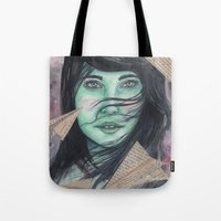 planes Tote Bags featuring Paper planes  by Pendientera