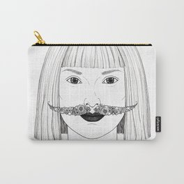 Lady with a floral moustache Carry-All Pouch