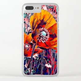 Meadow Poppies Autumn Clear iPhone Case