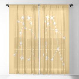 Gemini Zodiac Constellation - Golden Yellow Sheer Curtain