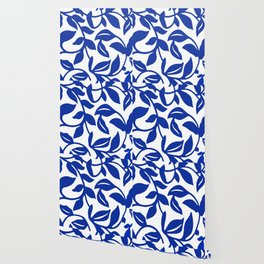 PALM LEAF VINE SWIRL BLUE AND WHITE PATTERN Wallpaper
