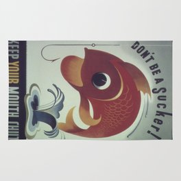 Vintage poster - Keep Your Mouth Shut Rug
