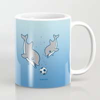 soccer Mugs featuring Soccer Dolphins by joanfriends