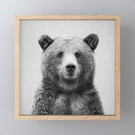 Grizzly Bear - Black & White Framed Mini Art Print