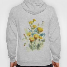 Watercolor flowers of blowball and forget-me-not Hoody