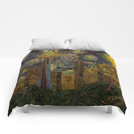 Dedication to Van Gogh: Seattle Starry Night Comforters