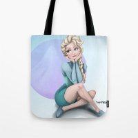 frozen elsa Tote Bags featuring Elsa - Frozen by Roe Mesquita