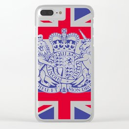 UK coat of arms and flag Clear iPhone Case