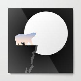 Gradient Bear Midnight Moon Metal Print