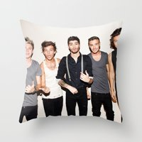 one direction Throw Pillows featuring One Direction by Max Jones