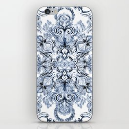 Indigo, Navy Blue and White Calligraphy Doodle Pattern iPhone Skin