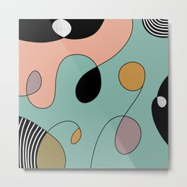 Abstract Colorful Modern Art Inspired Doodle  Metal Print
