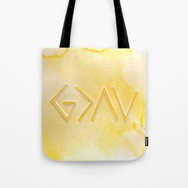 God Is Greater - YELLOW Tote Bag