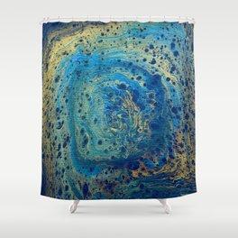 Blue and Gold Spiral Art Shower Curtain