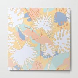 Abstract Tropical Leaves in Sorbet Metal Print