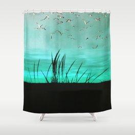 seagrass at sunrise Shower Curtain