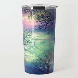 Midnight Trees : Deep Pastels Teal Lavender Travel Mug