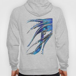 Abstract Blue And White Art - Flowing 5 - Sharon Cummings Hoody