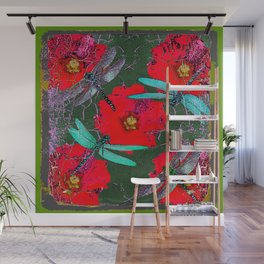 ANTIQUE CRACKLED  BLUE DRAGONFLIES ON RED HOLLYHOCK FLOWERS Wall Mural
