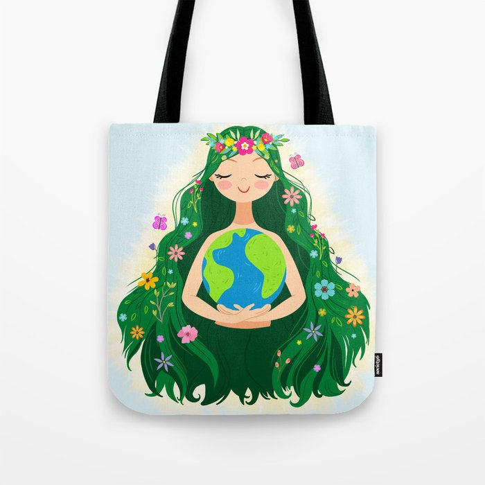 Beautiful Flowing Flower Earth Mother Figure Tote Bag