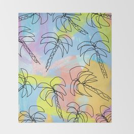 Live This Moment no.1 - illustration palm tree pattern summer tropical beach California pastel color Throw Blanket