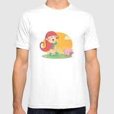 Lilly and Piggy White MEDIUM Mens Fitted Tee